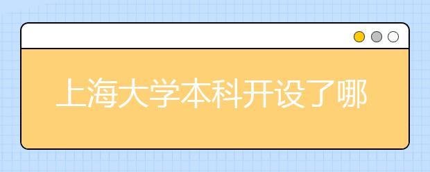 上海大学本科开设了哪些专业?上海大学有没有开设专科?