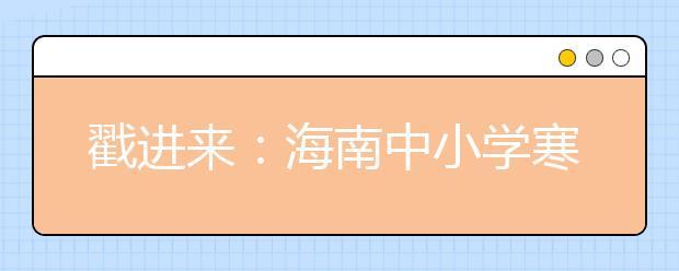 戳进来:海南中小学寒假放假时间出炉!