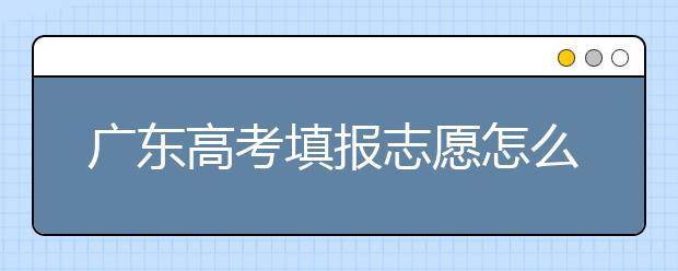 广东高考填报志愿怎么填?各种志愿填报怎么填?