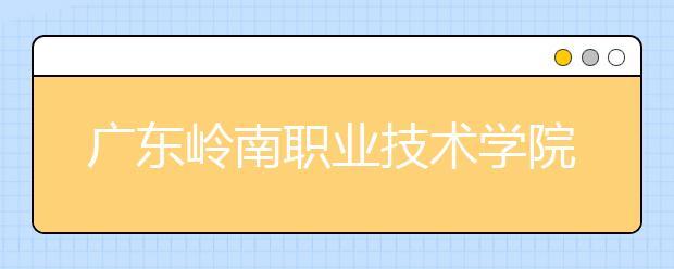 广东岭南职业技术学院2021年招生计划